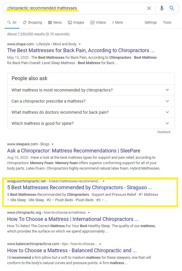 chiropractic recommended mattresses